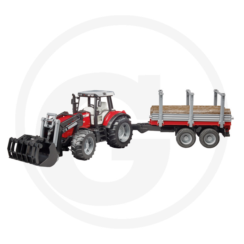 Traktor Massey Ferguson  s čelním nakladačem a vyvážecím přívěsem