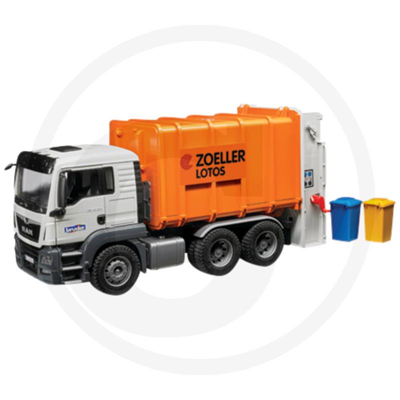 Bruder 3762 Nákladní auto MAN TGS popelářské (oranžové)