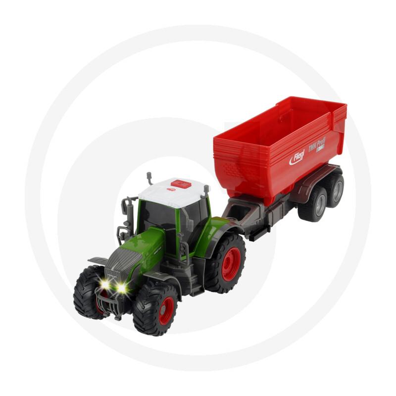Dickie Traktor mit Friktion, Licht, Sound, batteriebetriebener Fliegl Anhänger, bewegliche Teile, Länge: 41 cm
